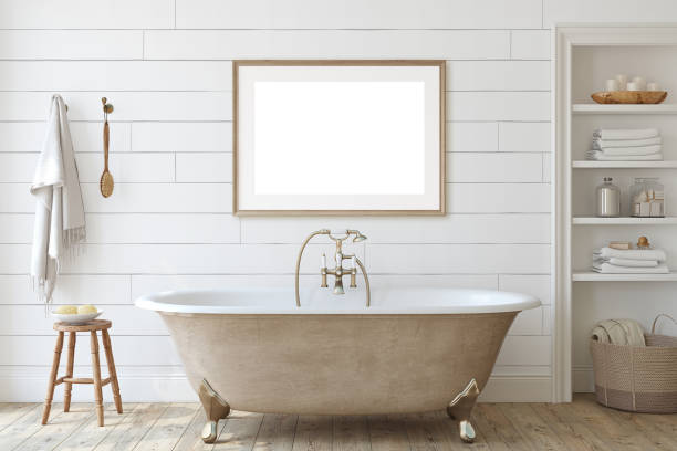 Farmhouse bathroom with shiplap wall. 3d render. stock photo
