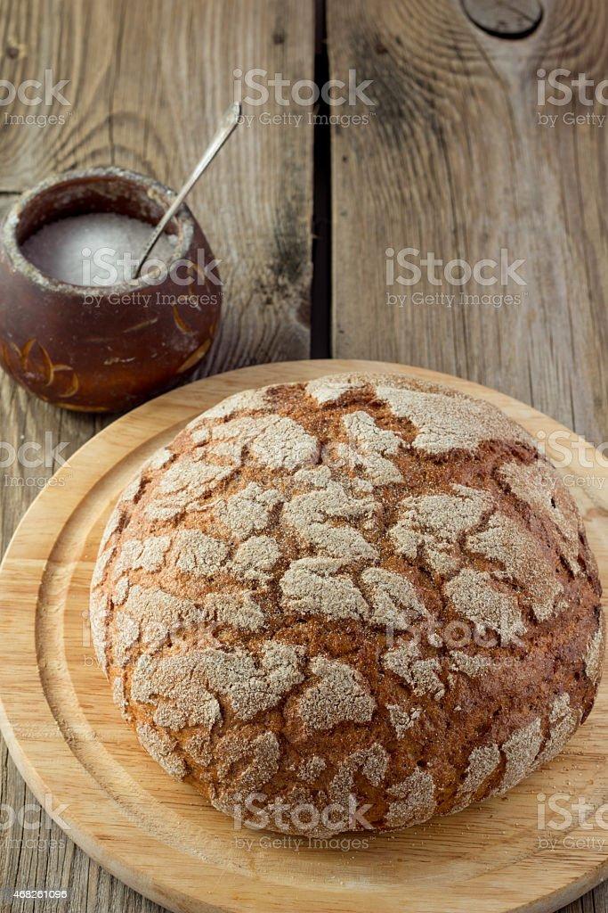 Farmhouse bread and salt stock photo