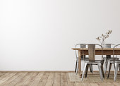 Farmhouse dining room interior, wall mockup
