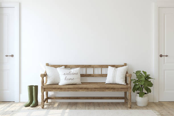 Farmhouse entryway. Wooden bench near white wall. 3d render. Farmhouse entryway. Wooden bench near white wall. Interior mockup. 3d render. home decor stock pictures, royalty-free photos & images