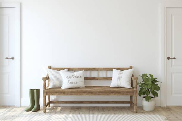 農家玄関.白い壁の近くの木製のベンチ。3d レンダー。 - 廊下 ストックフォトと画像