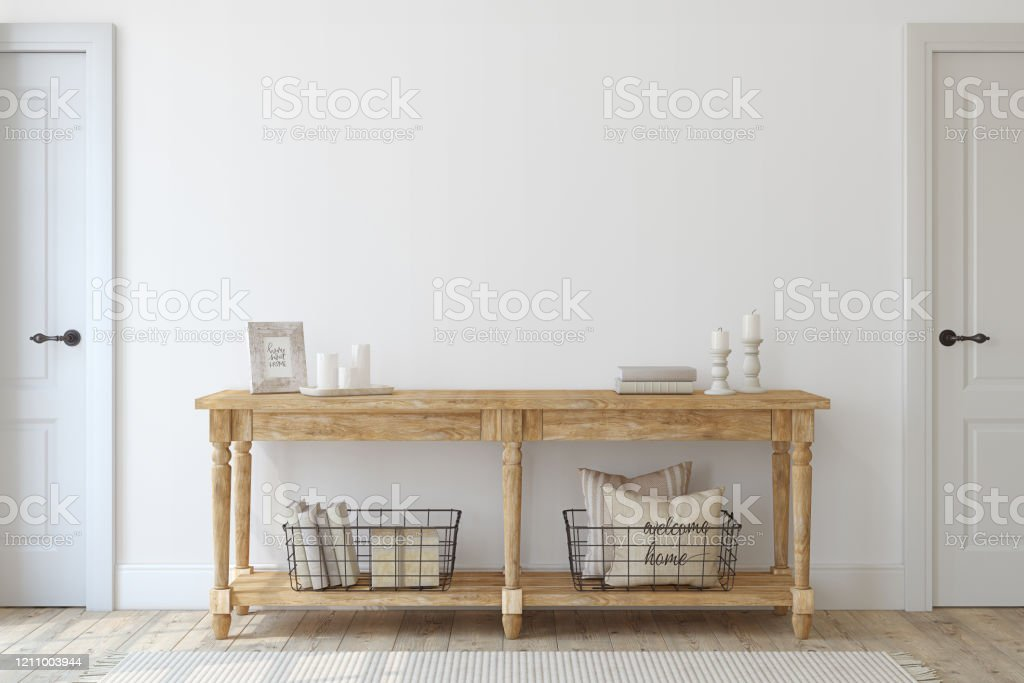 Picture of: Farmhouse Entryway Wooden Console Table Near White Wall 3d Render Stock Photo Download Image Now Istock