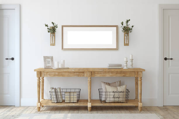 Farmhouse entryway. Wooden console table near white  wall. 3d render. stock photo