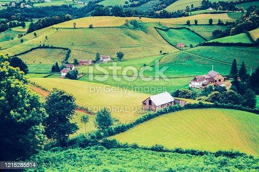 istock Farmhouse farm agricultural landscape Pyrenees-Atlantique France. 1215285514