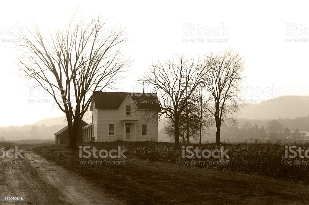 Farmhouse Foggy Twilight stock photo