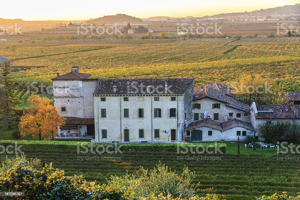 Farmhouse in autumn royalty-free stock photo