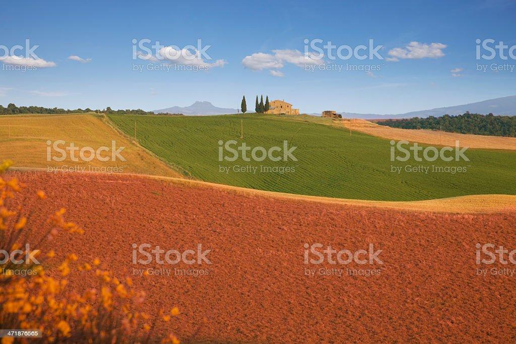 Farmhouse in suburbs of Pienza, Tuscany royalty-free stock photo
