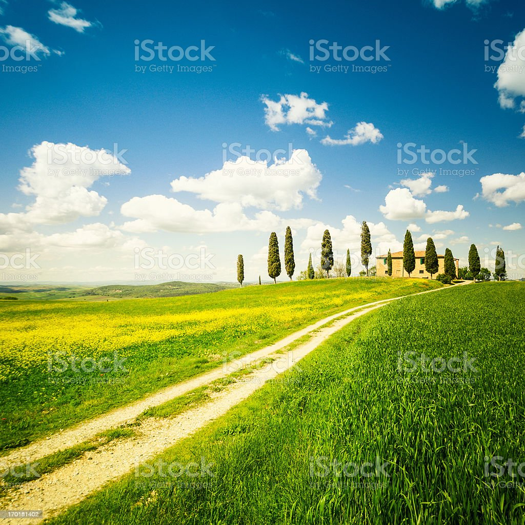 farmhouse in the Val d'orcia - Spring royalty-free stock photo