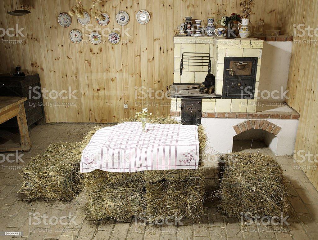 Bauernhaus Kuche Mit Haybales Fur Tisch Stockfoto Und Mehr Bilder Von Ansicht Von Oben Istock