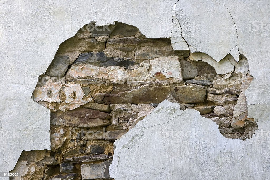 Farmhouse Plaster Wall Detail with Exposed Rock Foundation royalty-free stock photo