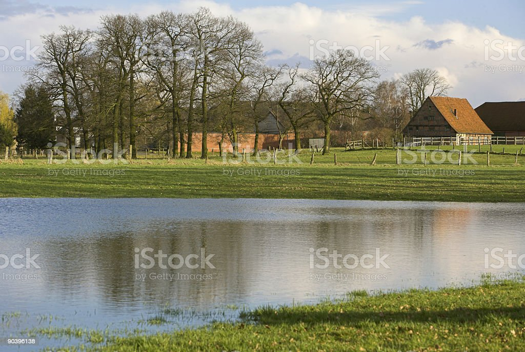 Farmhouse riverside in Lower Saxony, Germany (XL) royalty-free stock photo