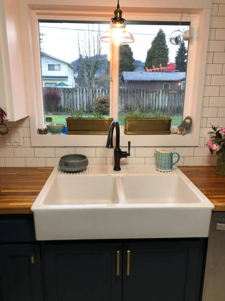 Farmhouse Sink Home Remodel stock photo