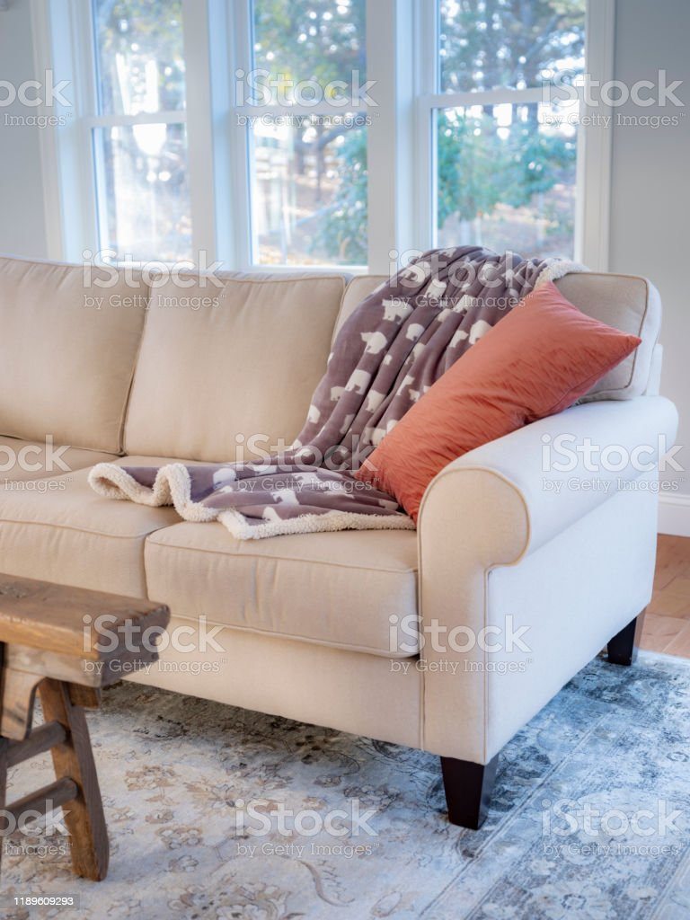 Farmhouse Sofa With Throw Pillow And Blanket Stock Photo Download Image Now Istock