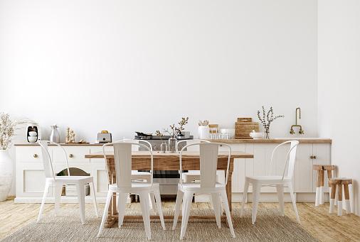 Farmhouse style kitchen interior, 3d render