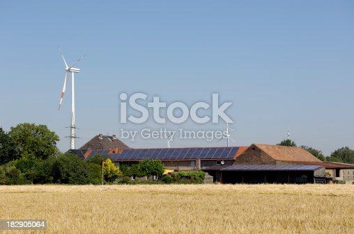 480763537 istock photo Farmhouse with solar panels wind turbines and a grain field 182905064