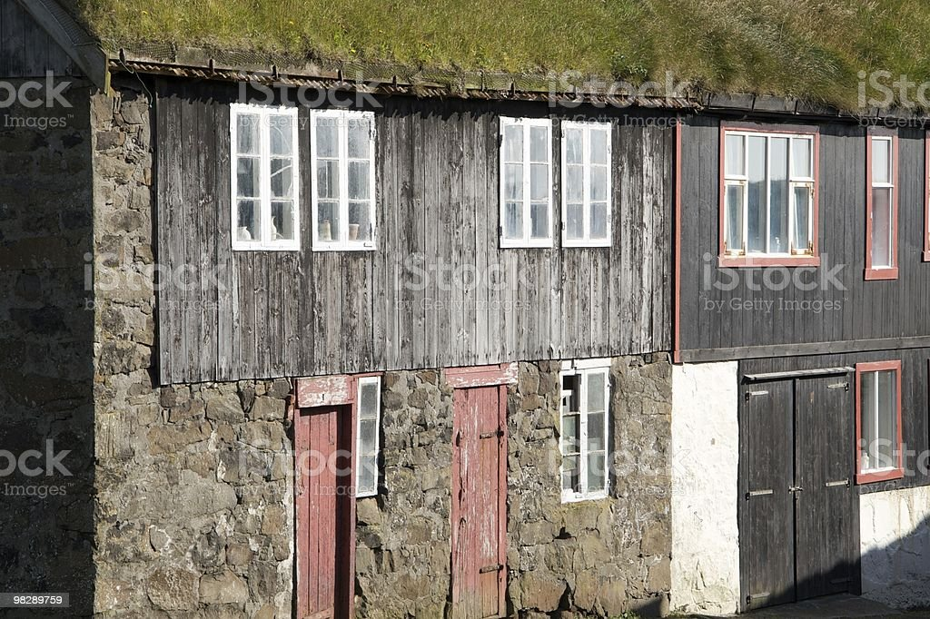 Farmhouses on Mykines in the Faroe Islands royalty-free stock photo