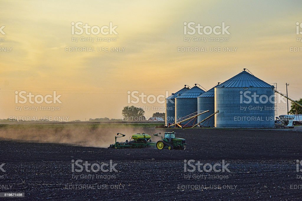 Farming at Dusk stock photo