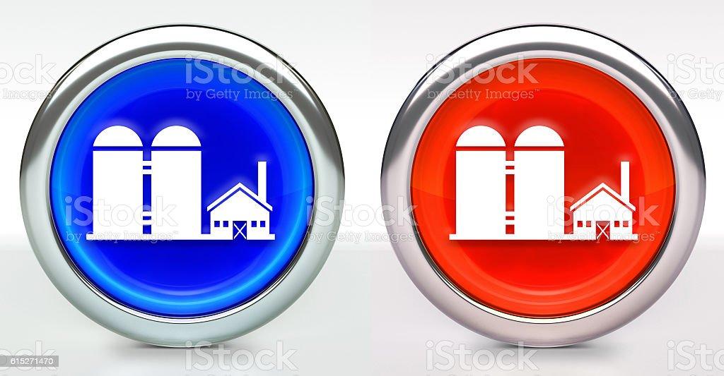Farming Building Icon on Button with Metallic Rim stock photo