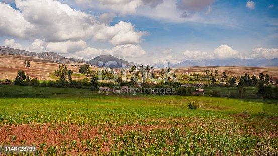 Farming fields near Cuzco in Peru, the andes Range corn farm