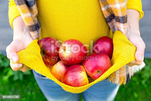 istock Farming, gardening, harvesting, fall and people concept - woman with apples at autumn garden 854864290