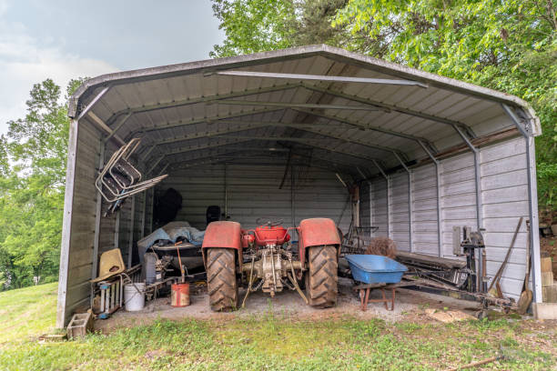 Farming shed in upstate S.C. Inman, S.C. / USA - May 4, 2019: Farming equipment in a shed in rural, upstate South Carolina, an area known for its prevalent farming community. spartanburg stock pictures, royalty-free photos & images