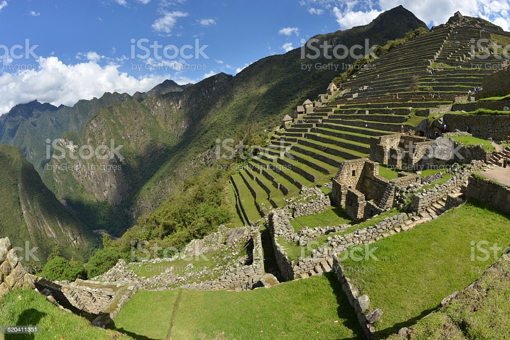 Farming terraces at Machu Picchu, Peru stock photo