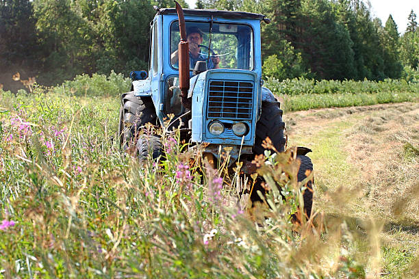 Farming tractor working in field of freshly cut during hayfield. Lemozero, Olonets, Karelia, Russia - July 15, 2006: Blue farm tractor working in a field of freshly cut during haymaking. republic of karelia russia stock pictures, royalty-free photos & images