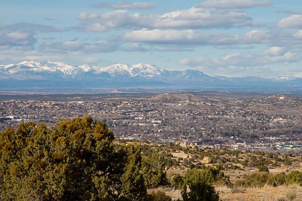 Farmington, New Mexico with snowcapped peaks