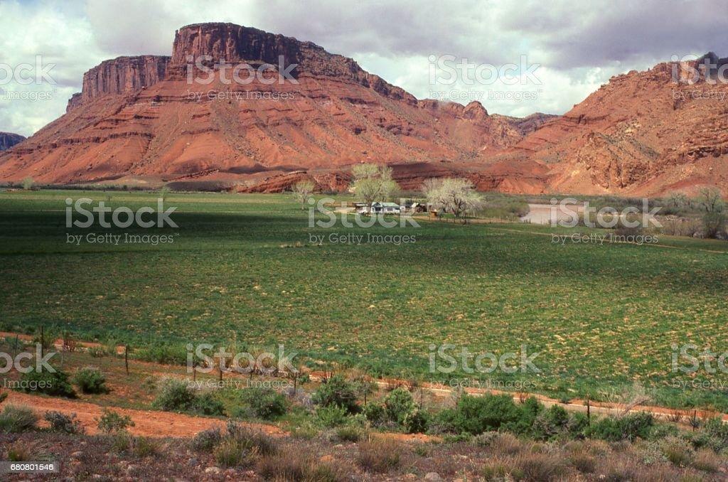 Farmland along the Colorado River and red rocks east of Moab Utah stock photo