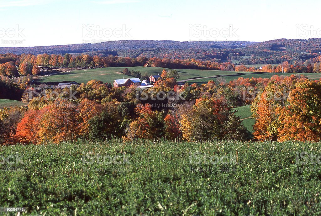 Farmland and autumn colors near State College Pennsylvania stock photo