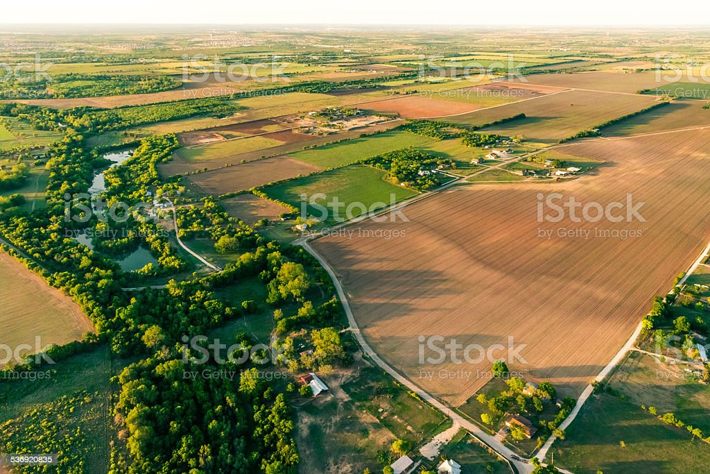 Farmland and countryside near San Antonio Texas area, aerial stock photo