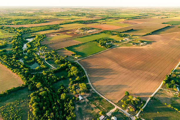 Farmland and countryside near San Antonio Texas area, aerial stock photo