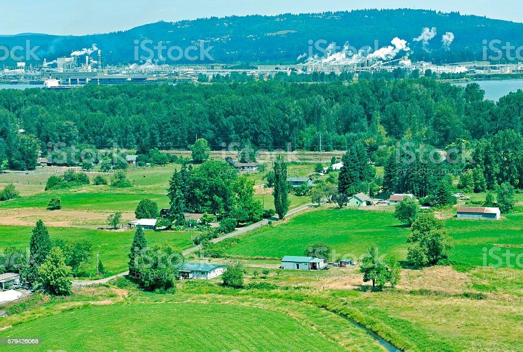 Farmland and industry on Columbia River in Oregon-Washington stock photo