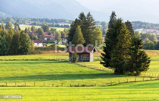 Farmland between Schwangau and Fussen towns, Germany.