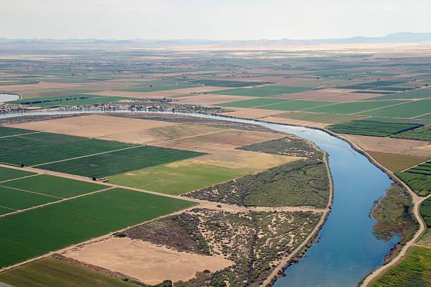 Farmland in Arizona and California stock photo