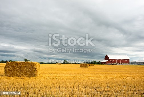Markham, ON, Canada - July 22, 2018:  Harvested wheat field under overcast sky. The decorative barnstar on the barn is very  common in Canada and Pennsylvania.
