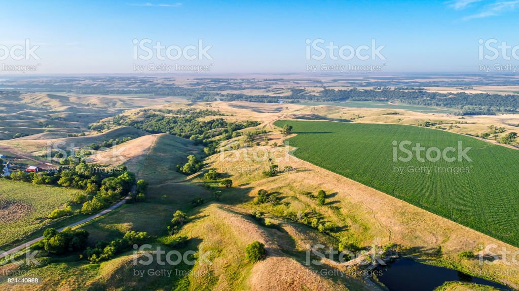 farmland in Nebraska Sandhills - aerial view stock photo