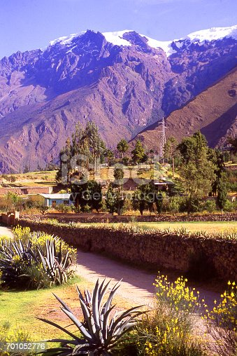 Farmland in valley along Urubamba River with glaciers on tops of Andes Mountains near Cuzco Peru South America