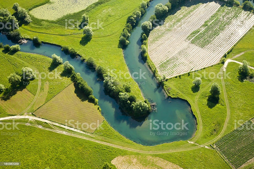 Farmland patchwork, aerial view stock photo