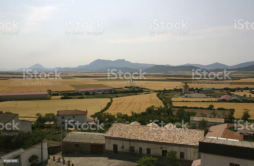 farmland plains at base of the pyrenees Spain royalty-free stock photo