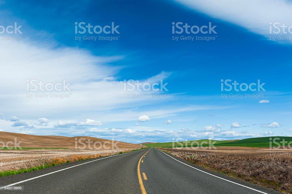 Farmland Road to the Horizon stock photo