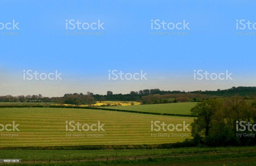 farmland shot on 35mm colour film royalty-free stock photo