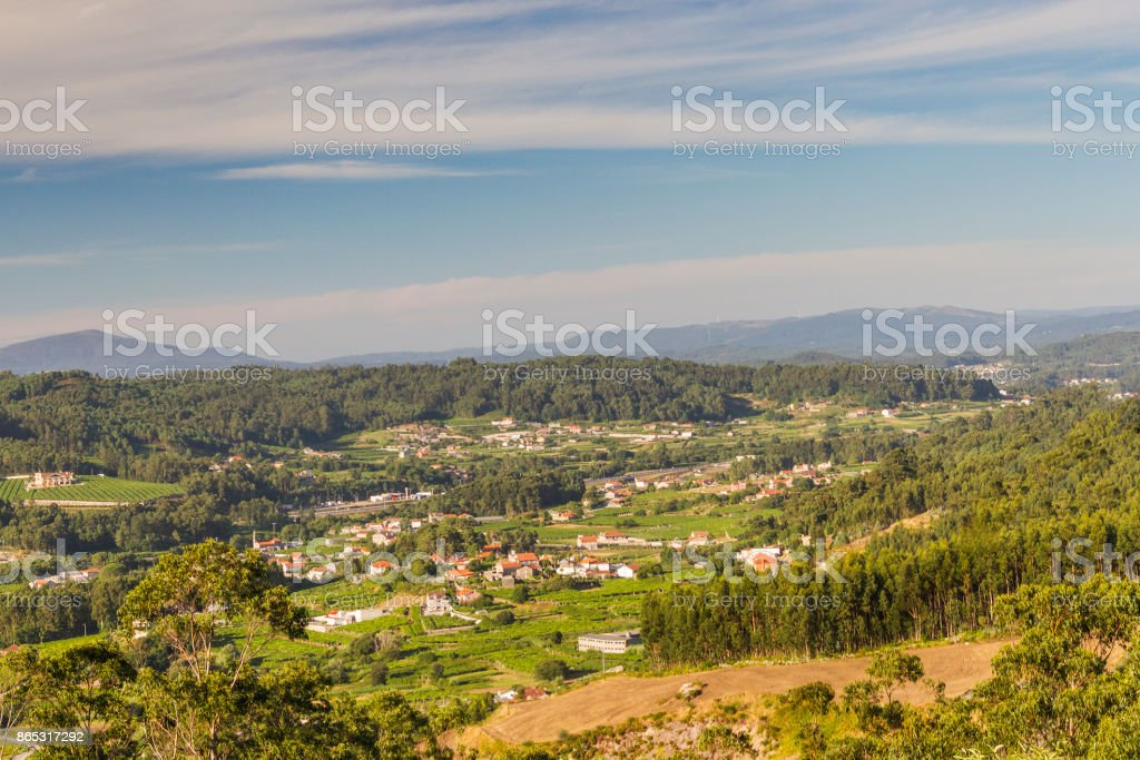 Farmlands and villages of Salnes valley royalty-free stock photo
