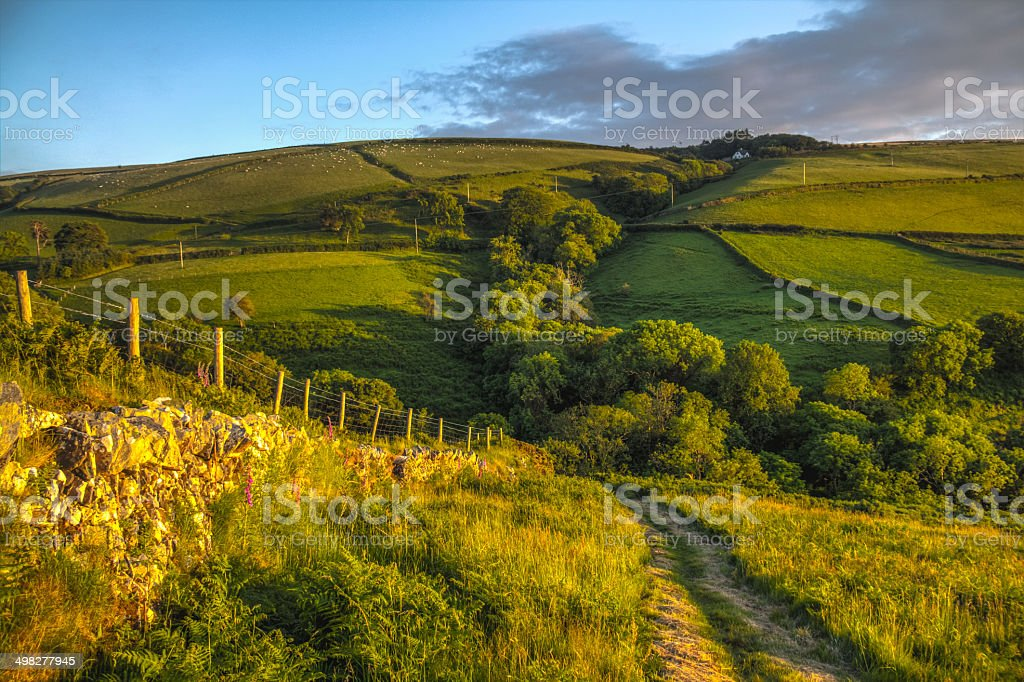 Farmlands at sunset in Exmoor National Park stock photo