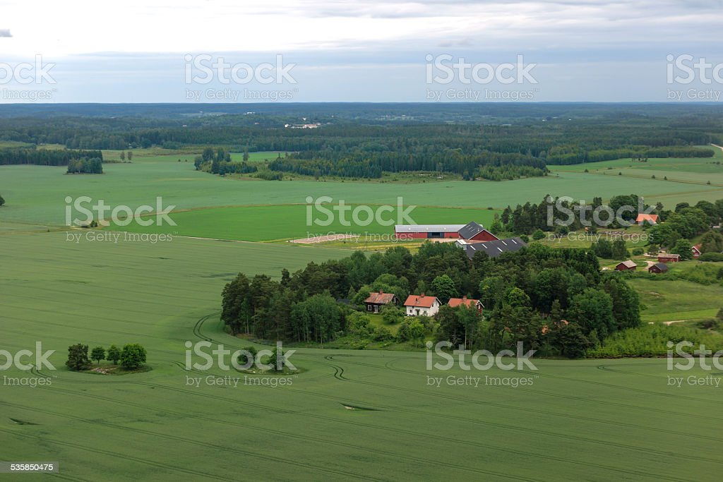 Farms and Fields in Sweden North Europe stock photo