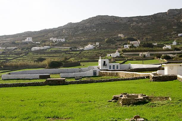 Farms outside Greek village stock photo