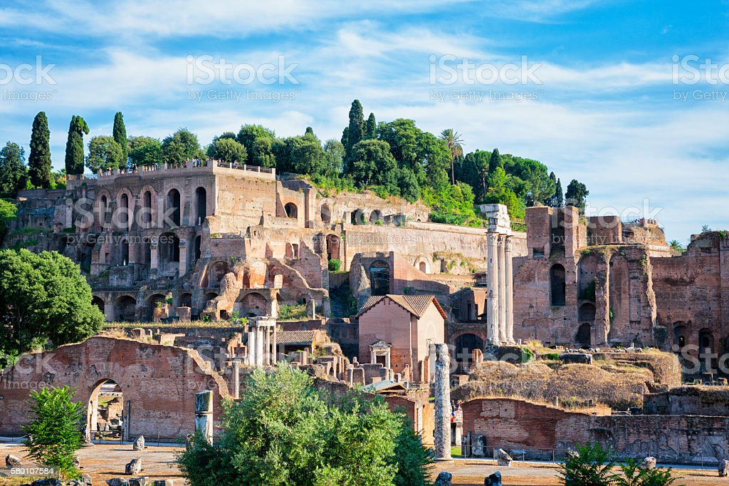 Farnese Gardens on Palatine Hill at Roman Forum, Rome, Italy stock photo