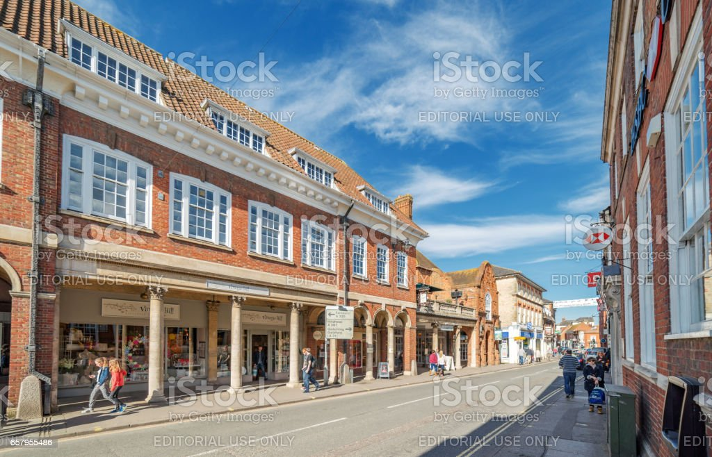 Farnham town centre shops and commercial facilities stock photo