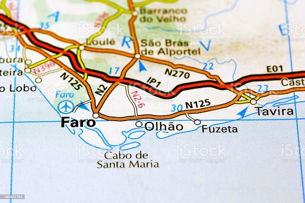 Faro area on a map stock photo