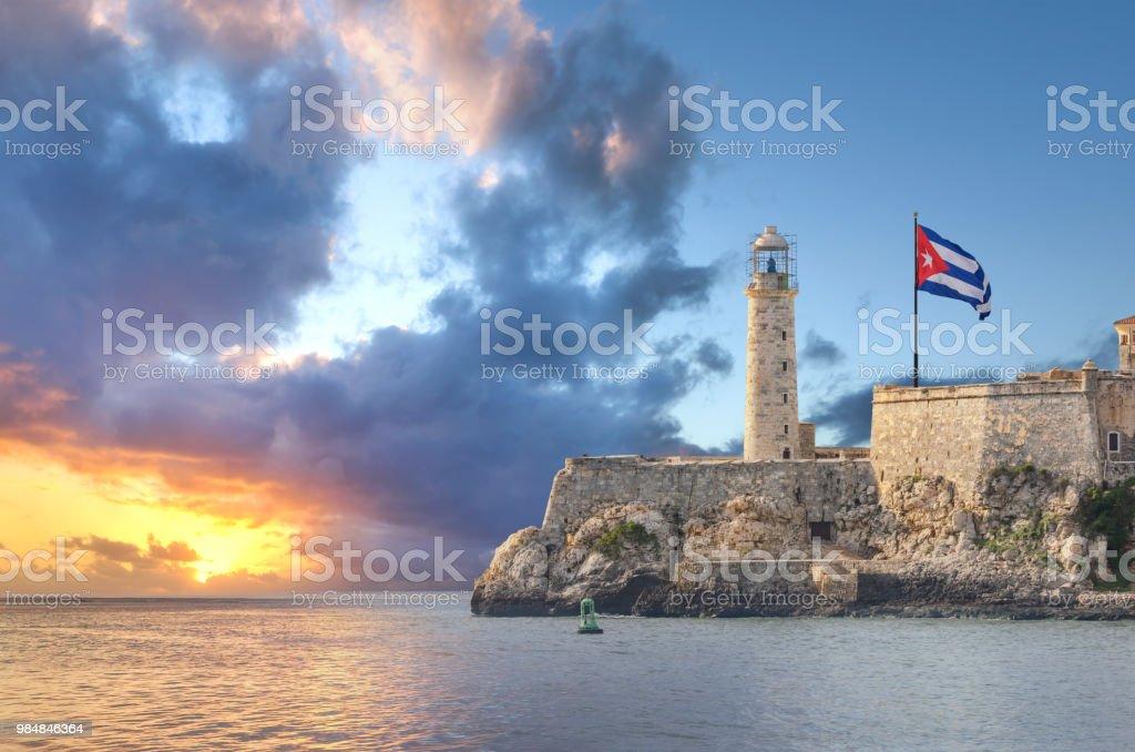 Castillo del Morro Leuchtturm Faro befindet sich in Havanna Kuba bei Sonnenuntergang – Foto